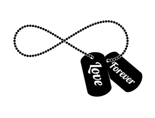 Vector black symbol of endless love, army dog tags