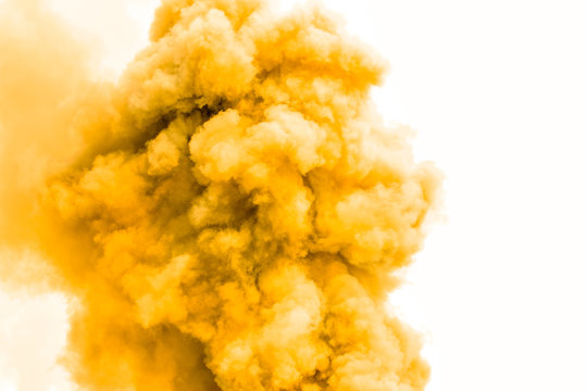 Yellow smoke like clouds background,Bomb smoke background,Smoke caused by explosions.