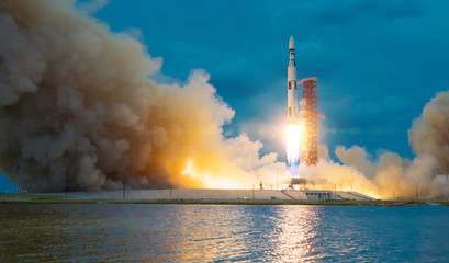 Fotobehang Nasa Rocket takes off into the sky. Lots of smoke and gas. The elements of this image furnished by NASA.