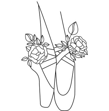 Ballet shoes silhouette with flowers peony. Design for postcard