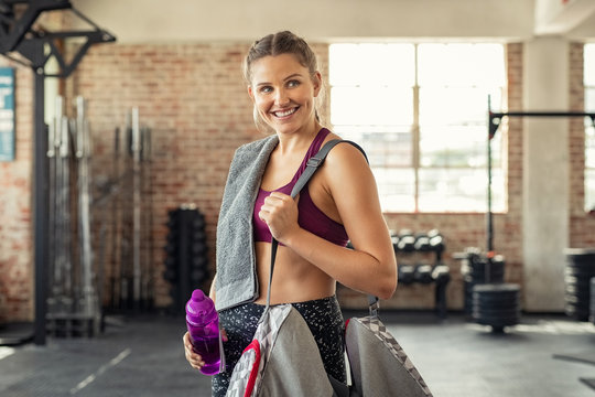 Fitness woman with bag at gym