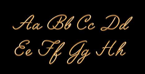 3D gradient golden blend vector alphabet design