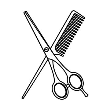 Line art black and white scissors and comb