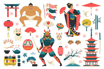 Set of japanese traditional icons vector illustration.