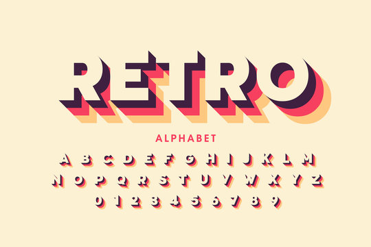 Retro style font design, alphabet letters and numbers