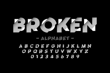 Broken font design, alphabet letters and numbers Wall mural