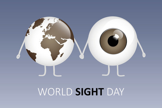 world sight day brown eye and earth holding hands cartoon vector illustration EPS10