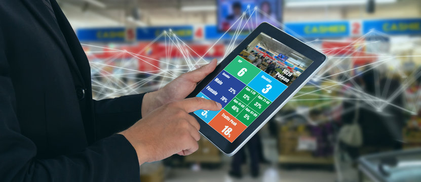 deep machine learning concept, the store or smart retail use artificial intelligence technology with facial recognition to analytic , predict behavior of customer in store to keep target of product
