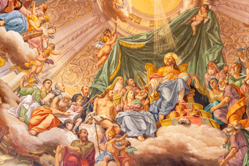 Wall Mural - COMO, ITALY - MAY 8, 2015: The fresco of Glory of Christ the King in church Santuario del Santissimo Crocifisso by Gersam Turri (1927-1929).