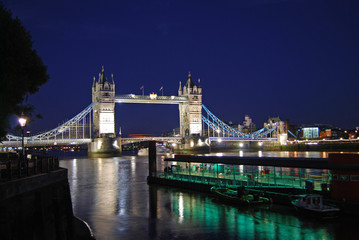 Tower Bridge at night in may, London, UK
