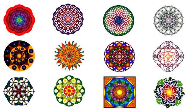 Set of 12 style ornament original  mandalas