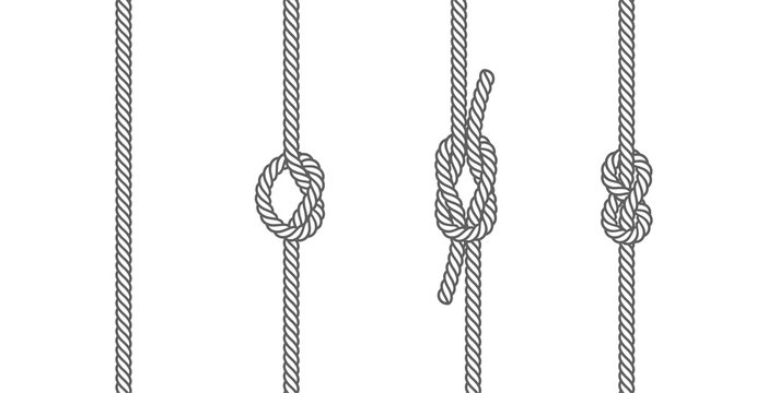 Rope knots borders line set design element different types. vector illustration of knot border