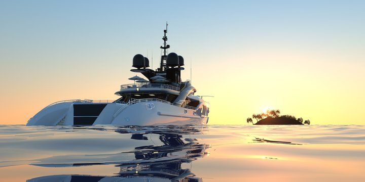 Extremely detailed and realistic high resolution photorealistic 3d illustration of a luxury super Yacht