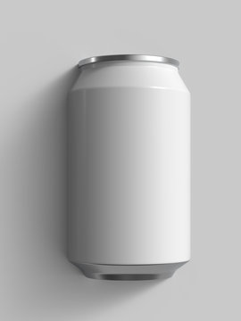 12 oz white beer or soda can. Realistic 3D render.