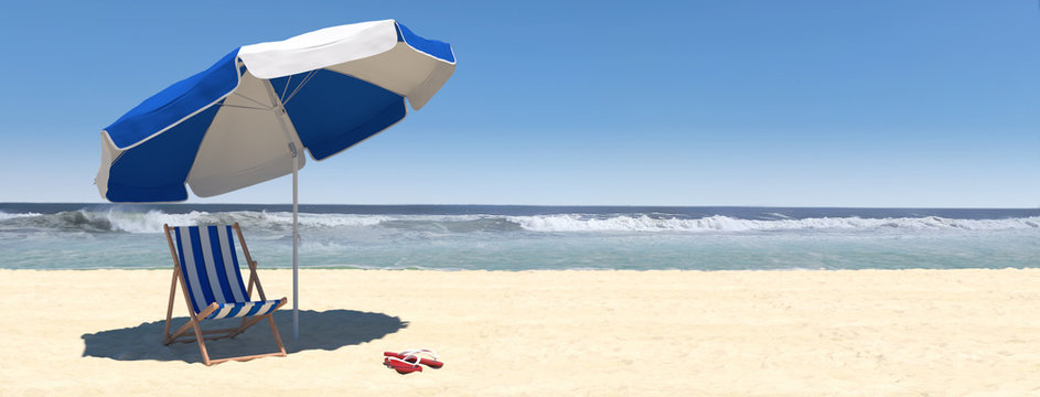 Summer beach scene with sunbed and sea with waves