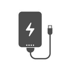 power bank portable charging device for smartphones and mobile phones with electricity sign, charge indicator and usb cable. vector icon isolated on white background. web icon for mobile and ui design