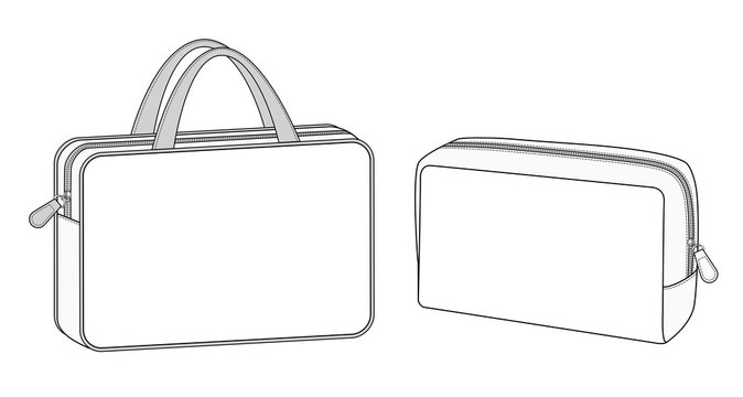 cosmetic case bag, Travel toiletry portable bag with handle, small zip bags vector illustration sketch template