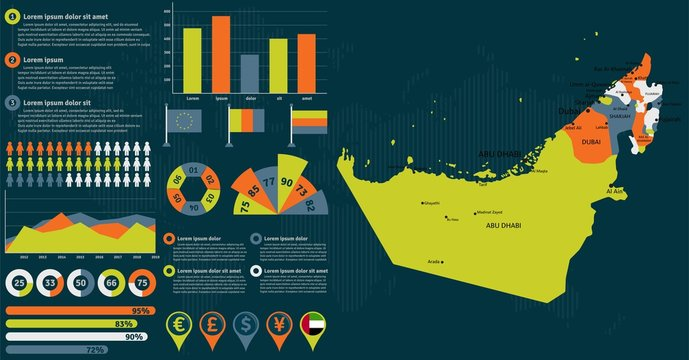 Detailed United Arab Emirates map with infographic elements. Vector illustration.