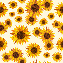 Seamless pattern with sunflower image