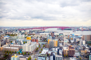 Canvas Prints Countryside A panoramic view of Osaka cityscape with Minato bridge.