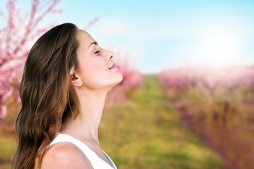 Happy woman  on natural background