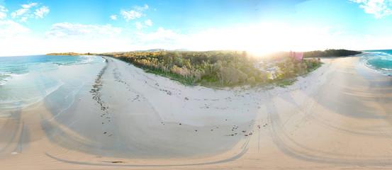 Panoramic landscape of Woolgoolga, Woolgoolga Headland and beach in New South Wales, Australia.