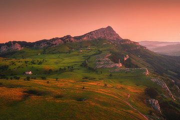 sunrise in Gorbea with view of Arraba fields