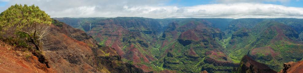 Wall Mural - Waimea Canyon, Kauai, Hawaii. Nicknamed the Grand Canyon of the Pacific, Waimea Canyon is a large canyon, about ten miles long and up to 3,600 feet deep. Formed by erosion from the Waimea River.