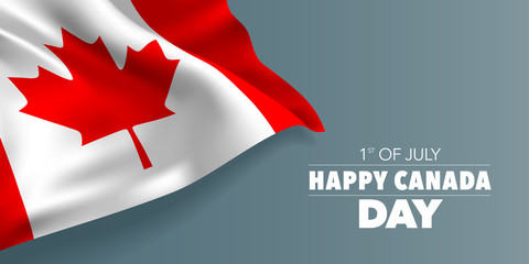 Happy Canada day greeting card, banner with template text vector illustration