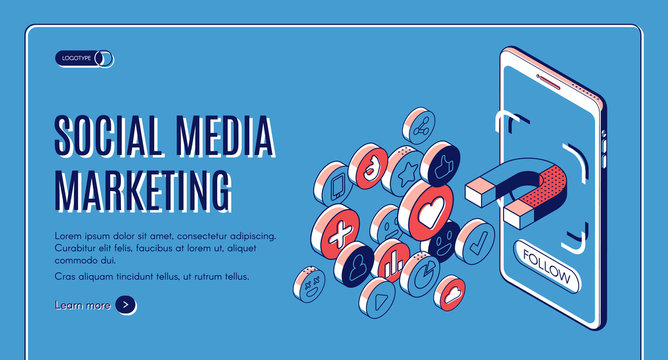 Social media marketing isometric web banner. Influencer concept with magnet attracting likes, feedbacks and followers from smartphone screen. Smm strategy, campaign 3d vector, line art, landing page