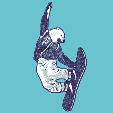 White bear snowboarder