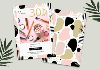 Promotional Sale Card Layout with Abstract Pink and Gold Graphic Elements