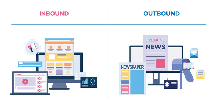 Inbound and outbound or on and offline marketing flat vector illustration isolated.