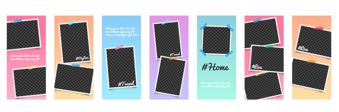 Set of realistic editable templates and photo frames for stories on social networks.