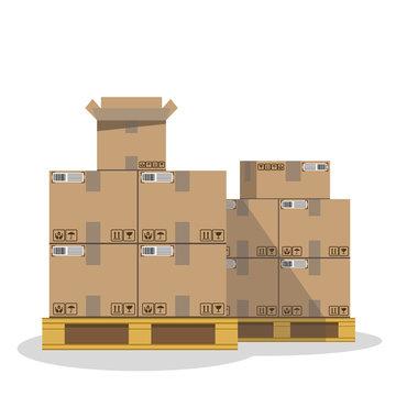 Cargo. Carton boxes on wooden pallet. Vector illustration