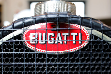 The Bugatti logo is seen on the radiator of a vintage Bugatti Type 35 sports car in Molsheim