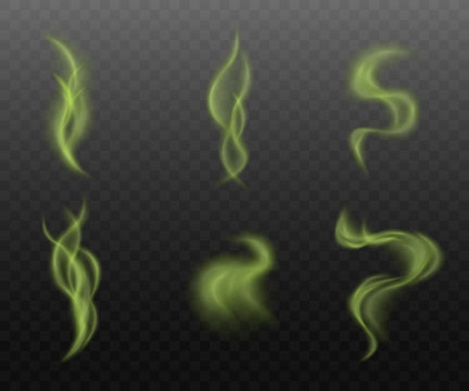 Set of green smoke clouds on transparent background, realistic vapor steam collection in curvy motion shapes