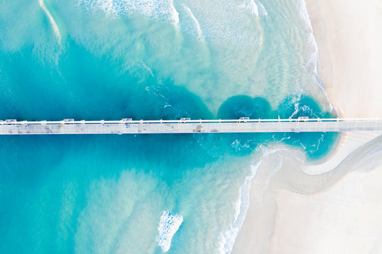 Aerial view of a pier, The Spit, Gold Coast, Queensland, Australia