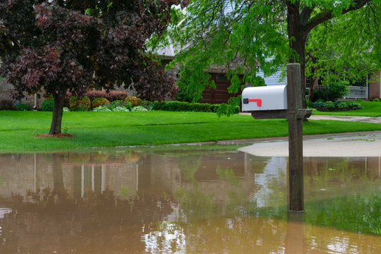 Mailbox on a Flooded Street in a Midwestern Town