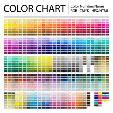 Color Chart. Print Test Page. Color Numbers or Names. RGB, CMYK, Pantone, HEX HTML codes. Vector color palette.