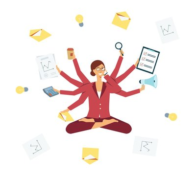 Business woman multitasking during manager job, female hard worker with many arms