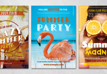 Summer Party Flyer Layout with Photo Background