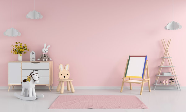 Drawing board and chair in pink child room interior for mockup, 3D rendering