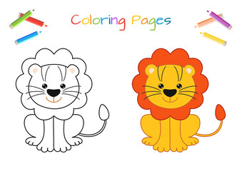 Funny little lion cub. Copy the picture. Coloring book. Educational game for children. Cartoon vector illustration