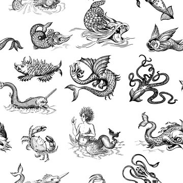 Mythological vintage sea monster. Monochrome Hand drawn sketch. Vector seamless pattern for boy. Detail of the old geographical maps of sea.