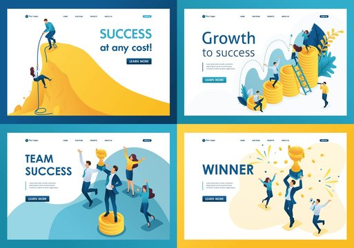 Set design web page templates of movement at success. Modern illustration concepts for website and mobile website development