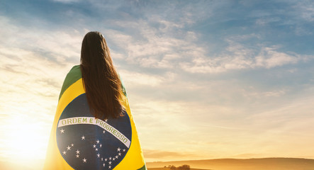Foto op Canvas Brazilië Woman with brazilian flag, independence day