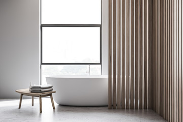 White and wooden bathroom interior with tub Wall mural