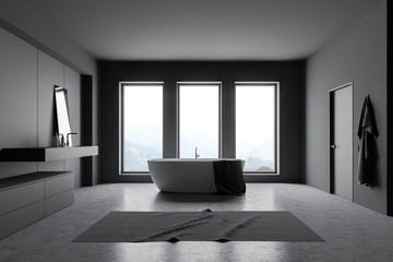 Dark gray loft bathroom interior