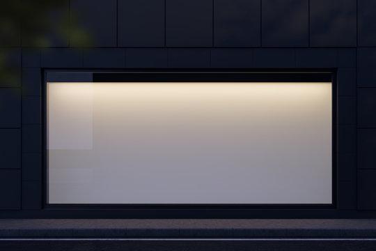 Horizontal mock up banner in shop window